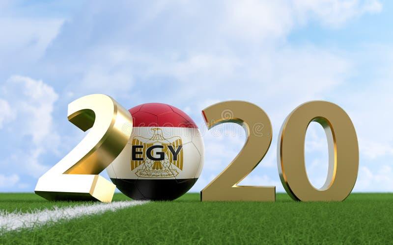 Fútbol 2020 - Diseño de la bandera de Egipto en un campo de fútbol. Balón de fútbol que representa el 0 en 2020 libre illustration