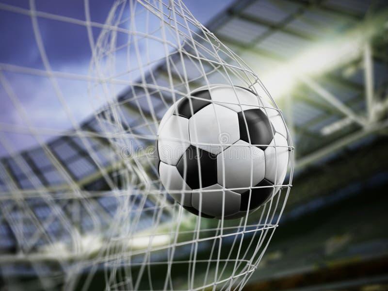 Fútbol en la red imagen de archivo