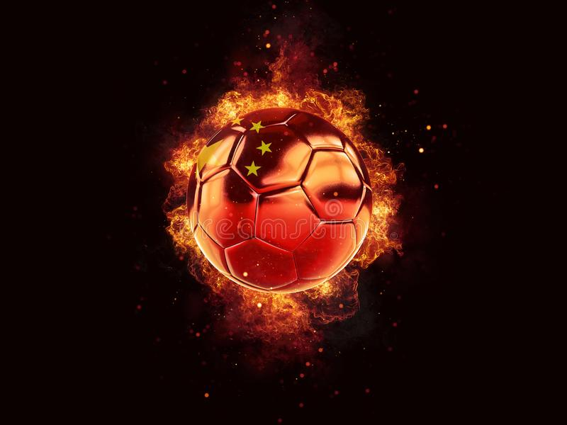 Fútbol en llamas con la bandera de China stock de ilustración