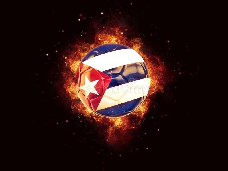 Fútbol en llamas con la bandera de Cuba stock de ilustración
