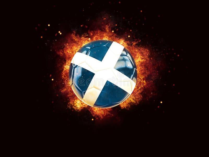 Fútbol en llamas con la bandera de Escocia ilustración del vector