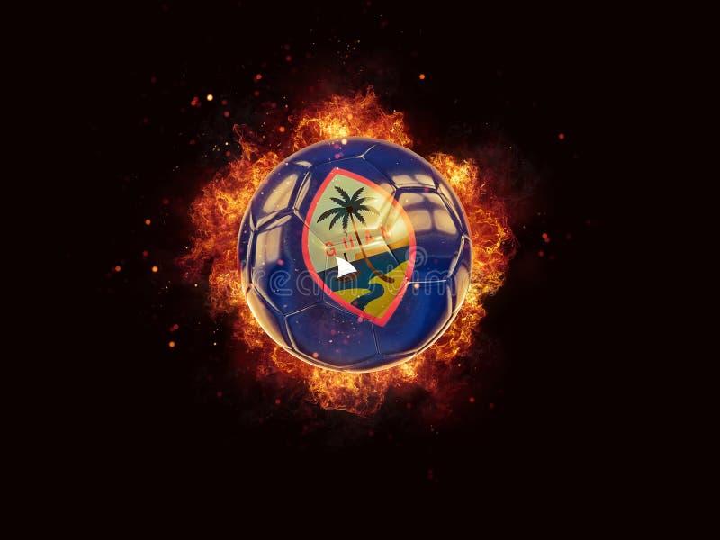 Fútbol en llamas con la bandera de Guam stock de ilustración