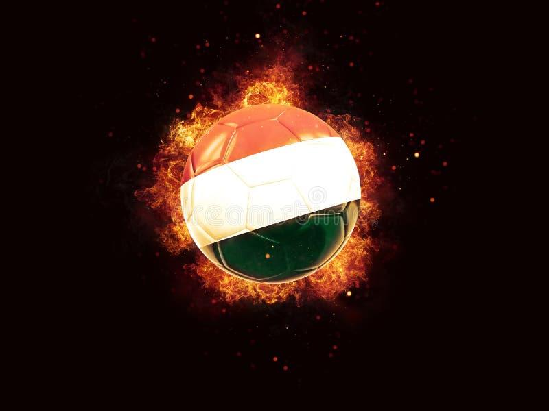 Fútbol en llamas con la bandera de Hungría stock de ilustración