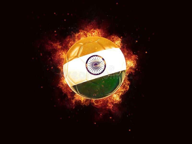 Fútbol en llamas con la bandera de la India ilustración del vector