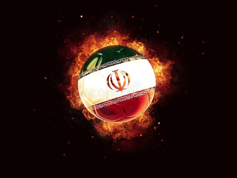 Fútbol en llamas con la bandera de Irán ilustración del vector