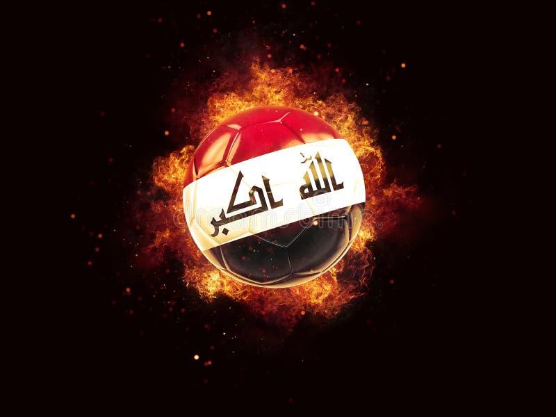 Fútbol en llamas con la bandera de Iraq libre illustration