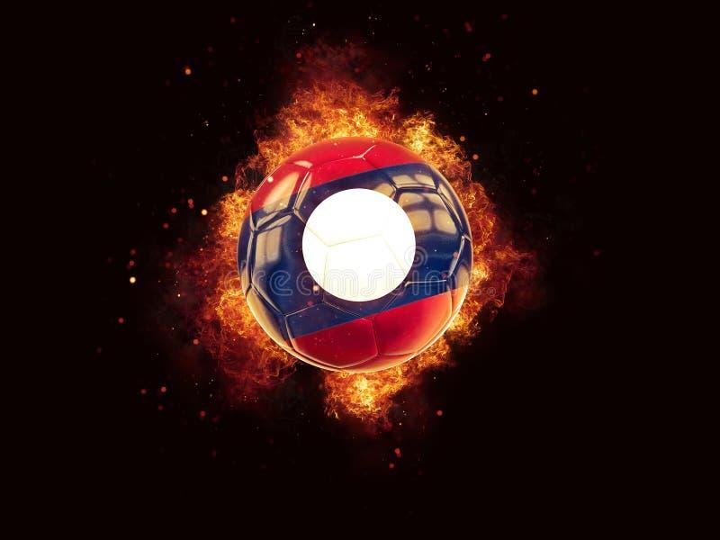 Fútbol en llamas con la bandera de Laos stock de ilustración