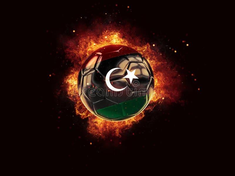 Fútbol en llamas con la bandera de Libia libre illustration