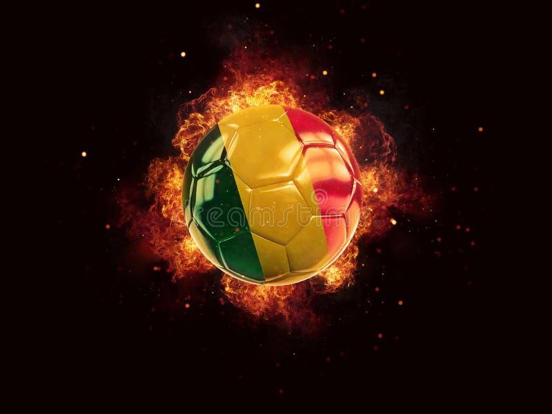 Fútbol en llamas con la bandera de Malí stock de ilustración