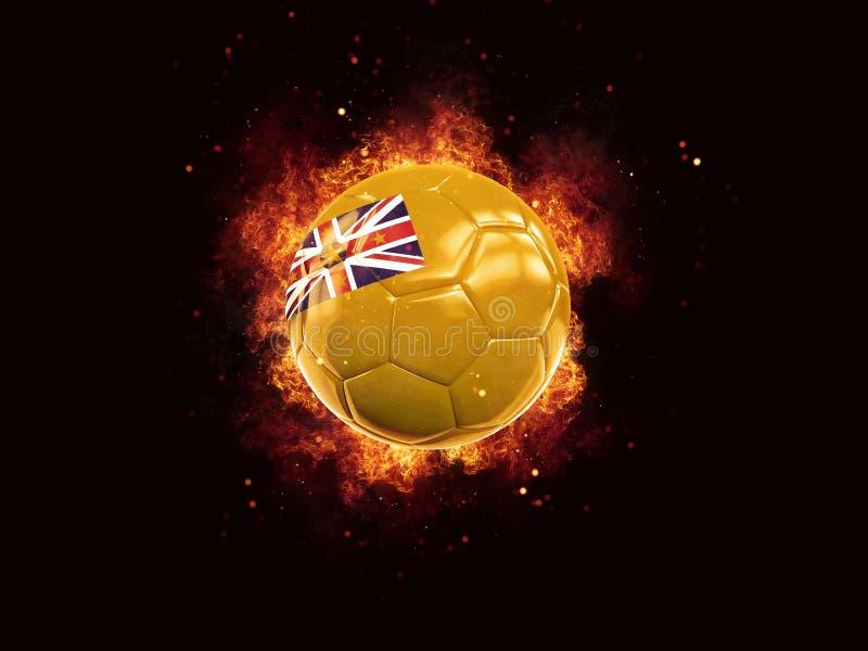 Fútbol en llamas con la bandera de niue stock de ilustración