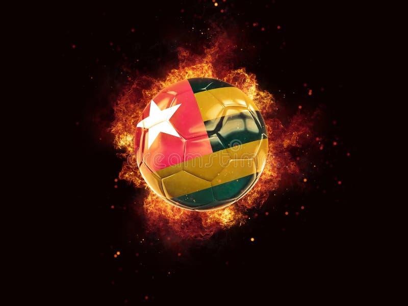 Fútbol en llamas con la bandera de Togo ilustración del vector