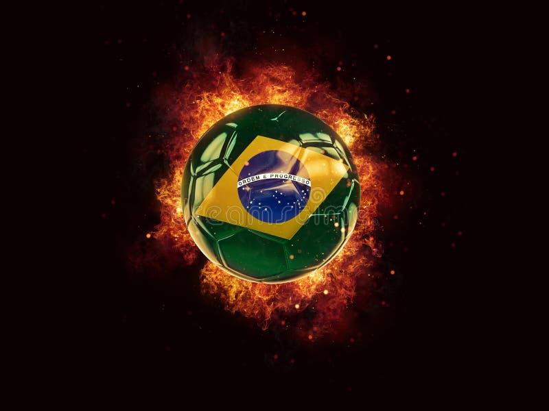 Fútbol en llamas con la bandera del Brasil ilustración del vector