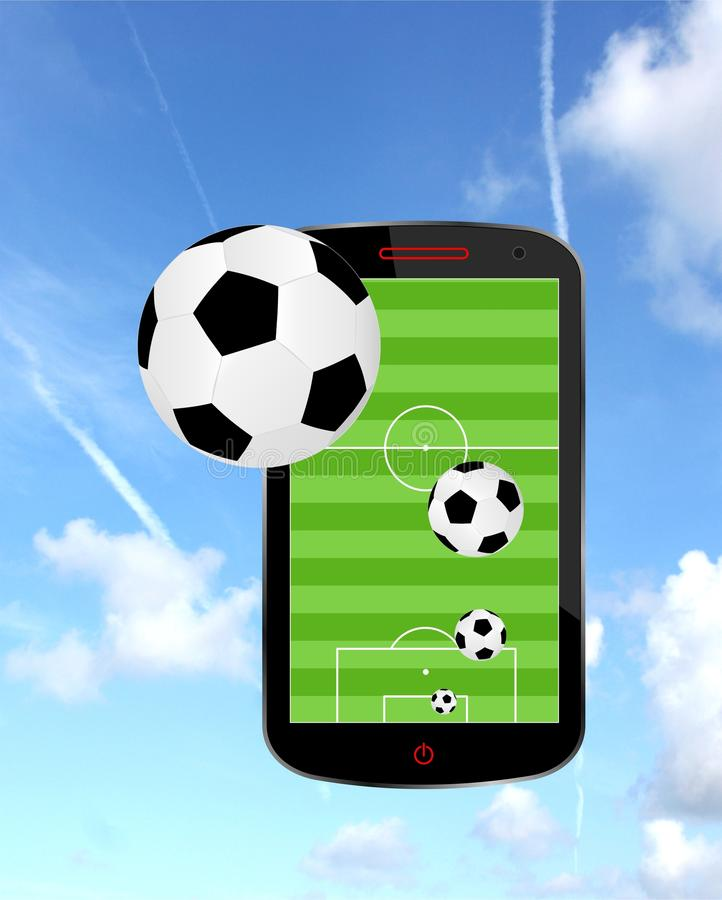 Fútbol en smartphone ilustración del vector