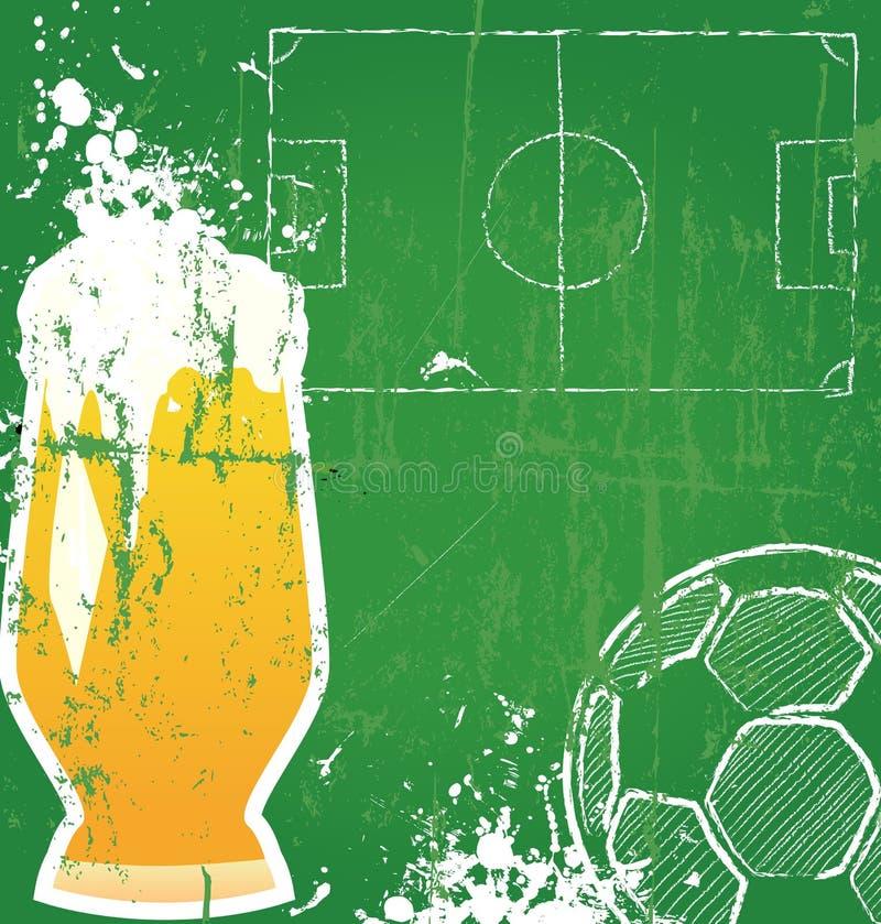 Fútbol/fútbol y cerveza ilustración del vector