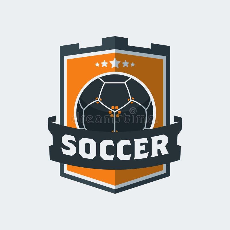 Fútbol Logo Template del fútbol Emblema moderno de la bola del deporte dentro de S ilustración del vector