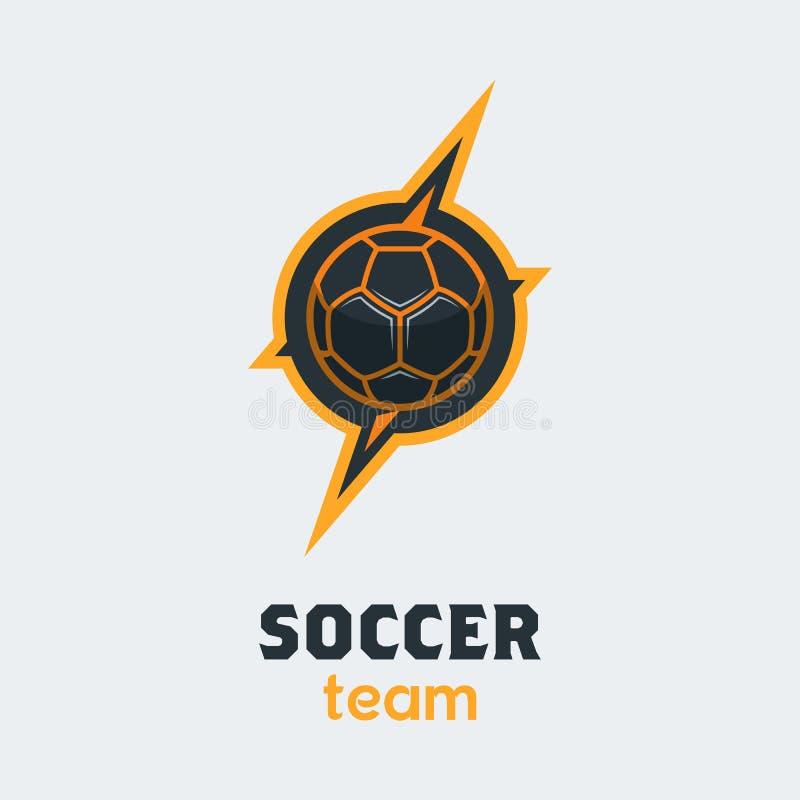 Fútbol Logo Template del fútbol Emblema moderno de la bola del deporte dentro de T libre illustration
