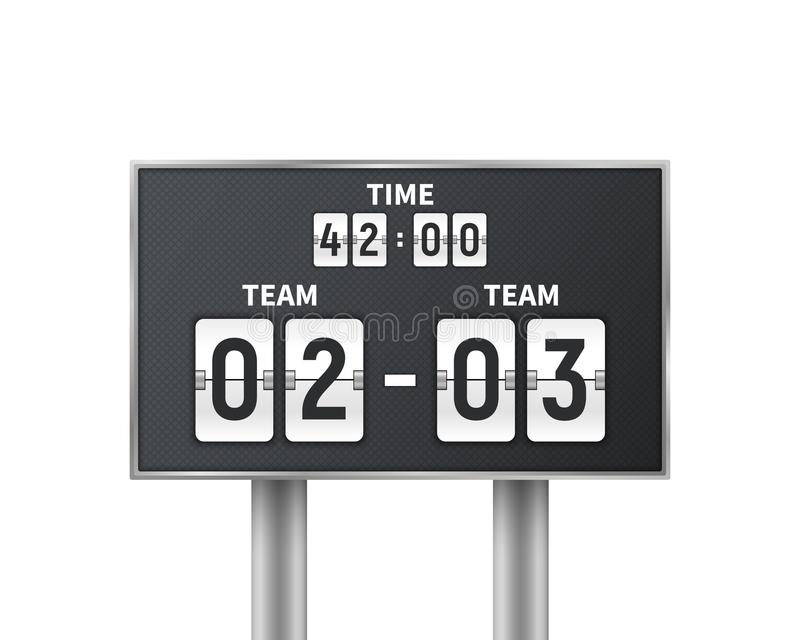 Fútbol, marcador mecánico del fútbol aislado en el fondo blanco Cuenta descendiente del diseño con el tiempo, exhibición del resu ilustración del vector
