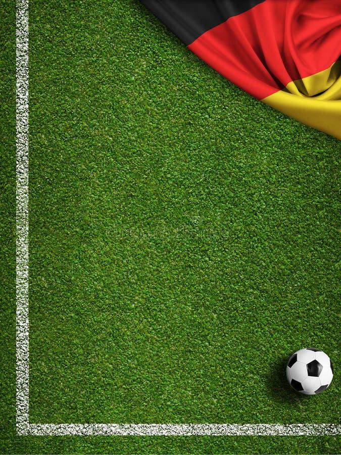 Fútbol o campo de fútbol con la bandera de Alemania libre illustration
