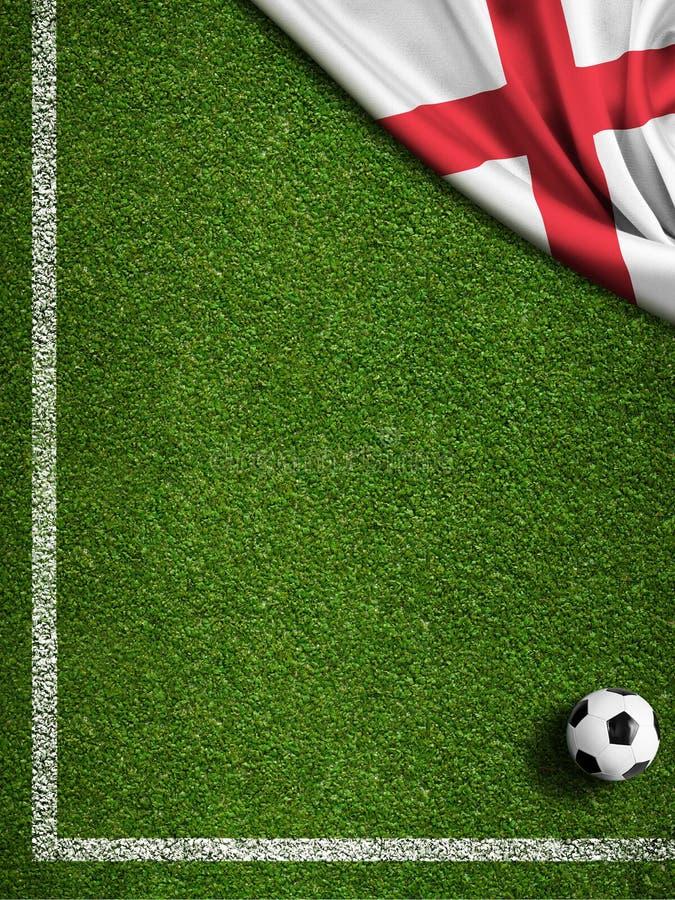 Fútbol o campo de fútbol con la bandera de Inglaterra stock de ilustración
