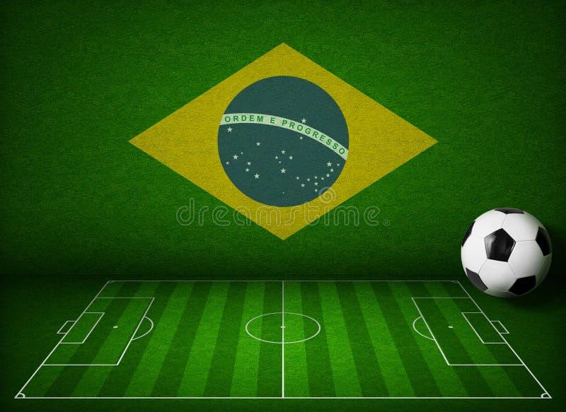 Fútbol o campo de fútbol con la bandera del Brasil ilustración del vector