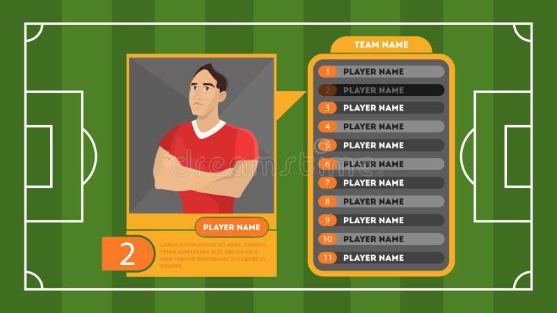 Fútbol o tarjeta del perfil del jugador de fútbol Campo verde libre illustration