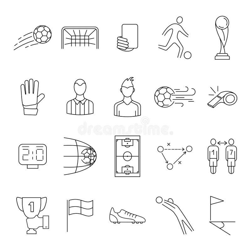 Fútbol, sistema del icono del vector del fútbol ilustración del vector