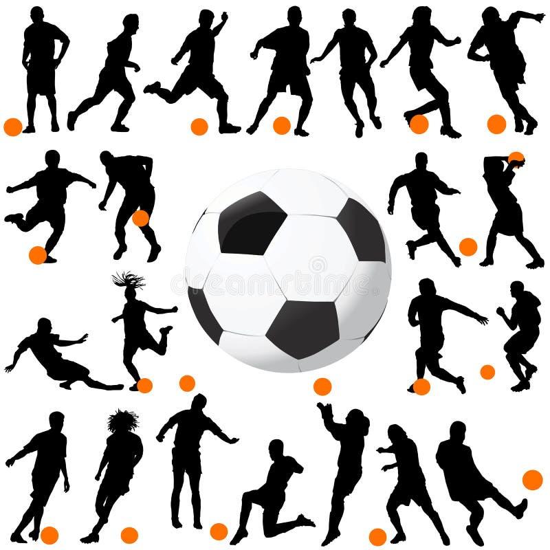 Fútbol y vector de la bola stock de ilustración