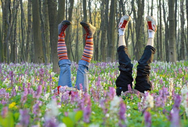 Füße in den Blumen stockfotos
