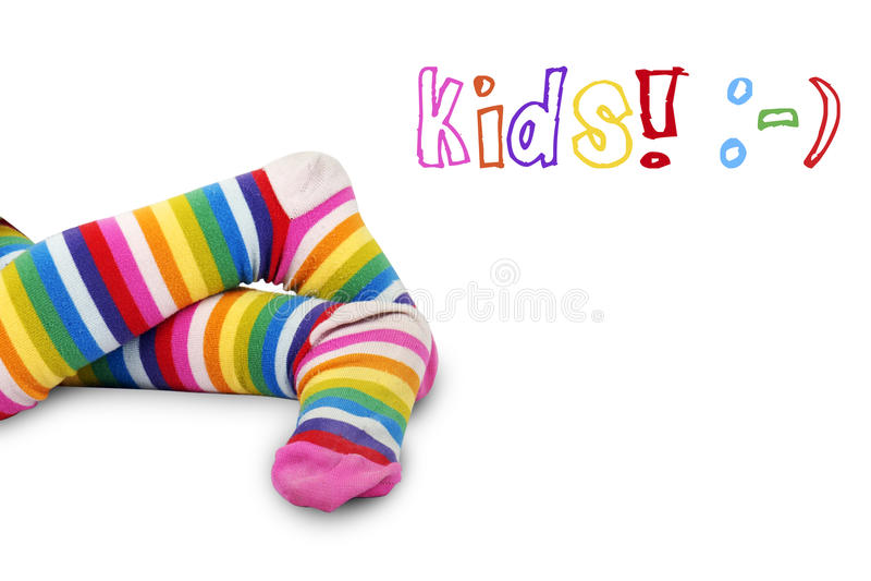 Füße Des Bunten Kindes Lizenzfreies Stockfoto