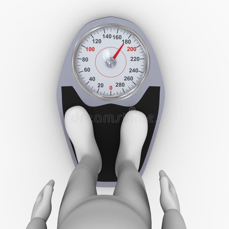 Füße des Mannes 3d auf Badezimmergewichtsskala vektor abbildung