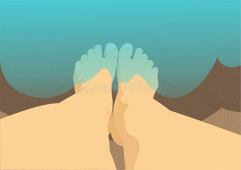 Füße im Meer vektor abbildung