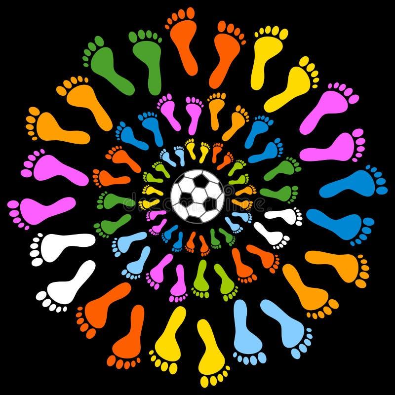 Füße und Fußball Mullticolored stock abbildung