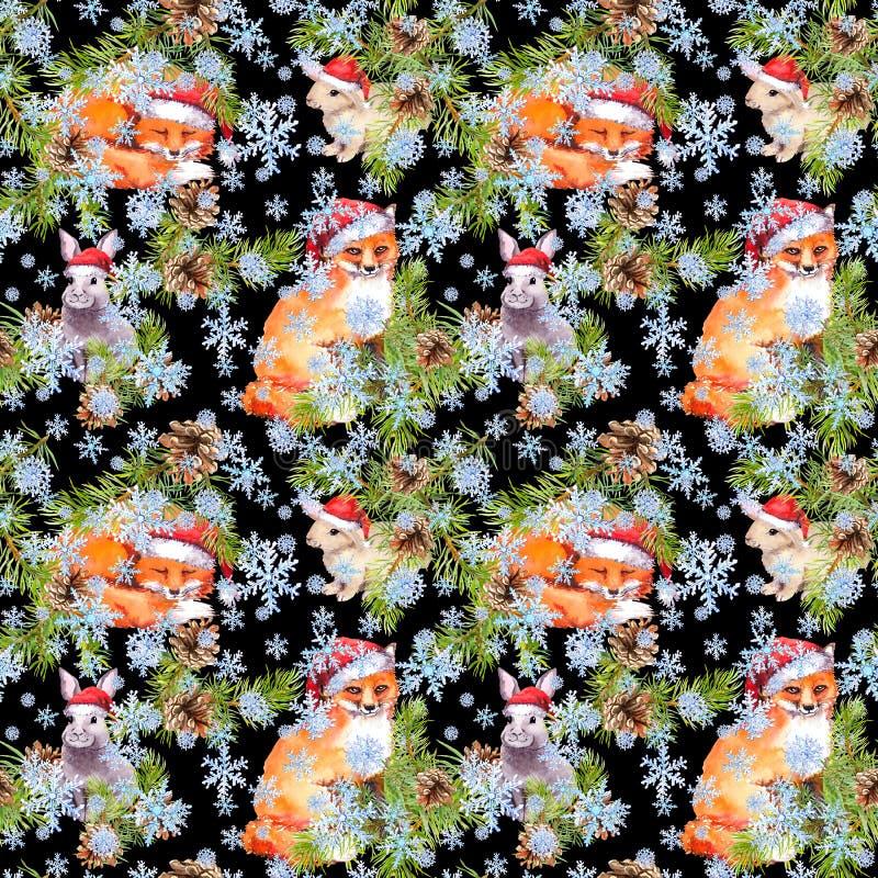 Füchse, Kaninchentiere in roten Sankt-Hüten im Schnee Gezierte Weihnachtsbaumaste, Kegel Nahtloses Muster für Weihnachten vektor abbildung