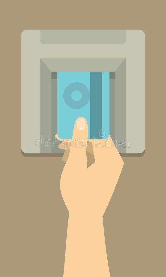 Fügen Sie Karte in das ATM ein lizenzfreie abbildung