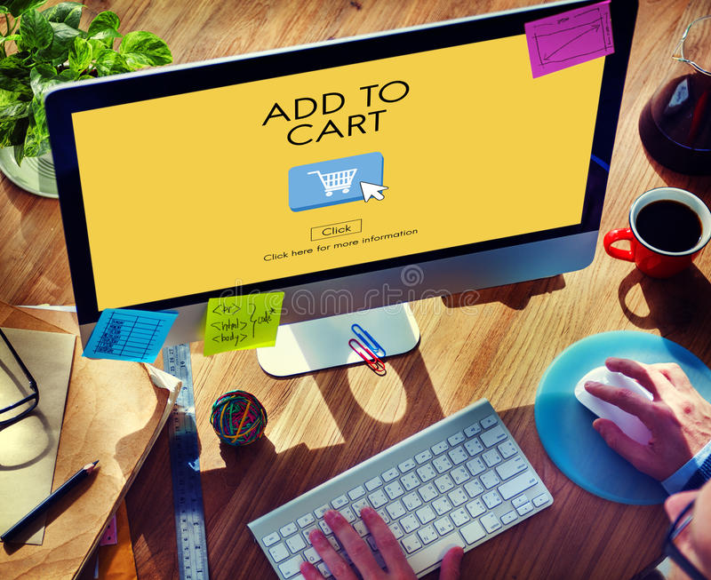 Fügen Sie Warenkorb-Handels-Internet-Einkaufsdigital-Konzept hinzu lizenzfreies stockbild