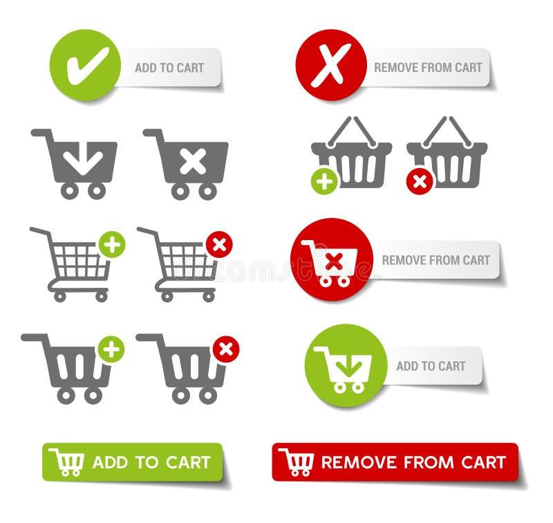 Fügen Sie Warenkorb-Knöpfen hinzu stock abbildung