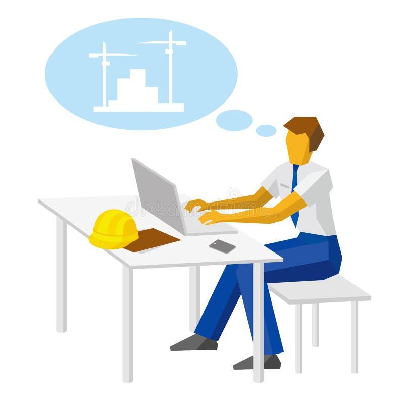 Führen Sie Arbeit mit Laptop und das Denken an Bau aus lizenzfreie abbildung