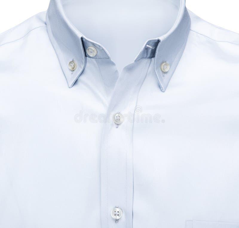 Führen Sie Nahaufnahmegeschäft oder klassisches blaues Hemd, lokalisierten weißen Hintergrund mit Beschneidungspfad einzeln auf lizenzfreies stockfoto