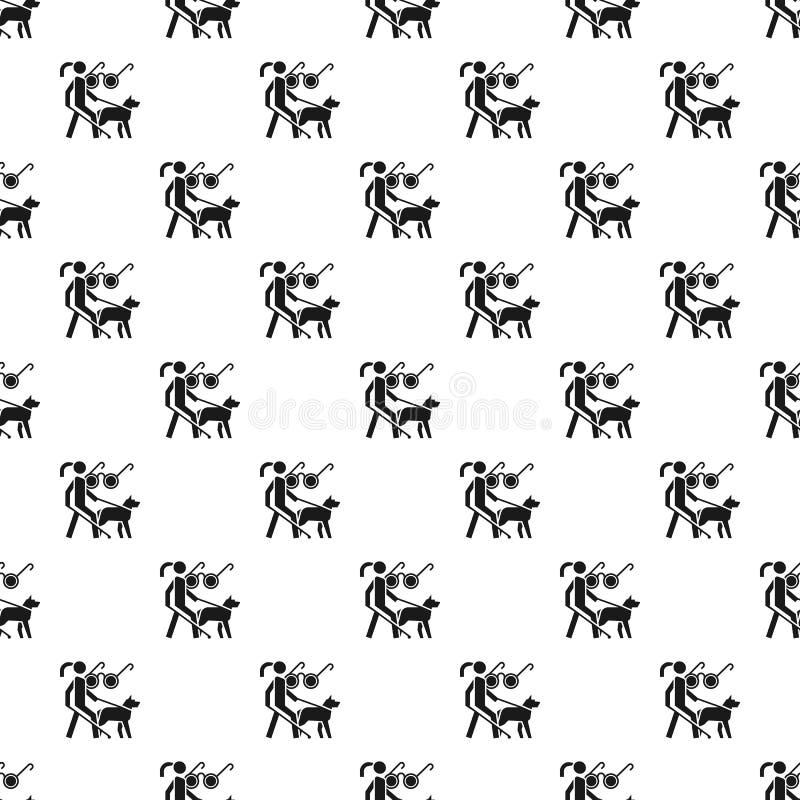 Führer-Musters der Frau nahtloser Vektor des blinden Hunde lizenzfreie abbildung