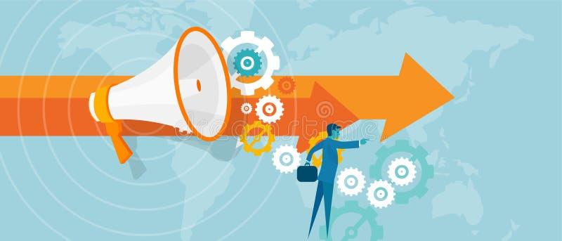 Führerführung im Geschäftskonzeptteamarbeits-Visionsvisionär für Erfolgsgeschäftsmannführung lizenzfreie abbildung