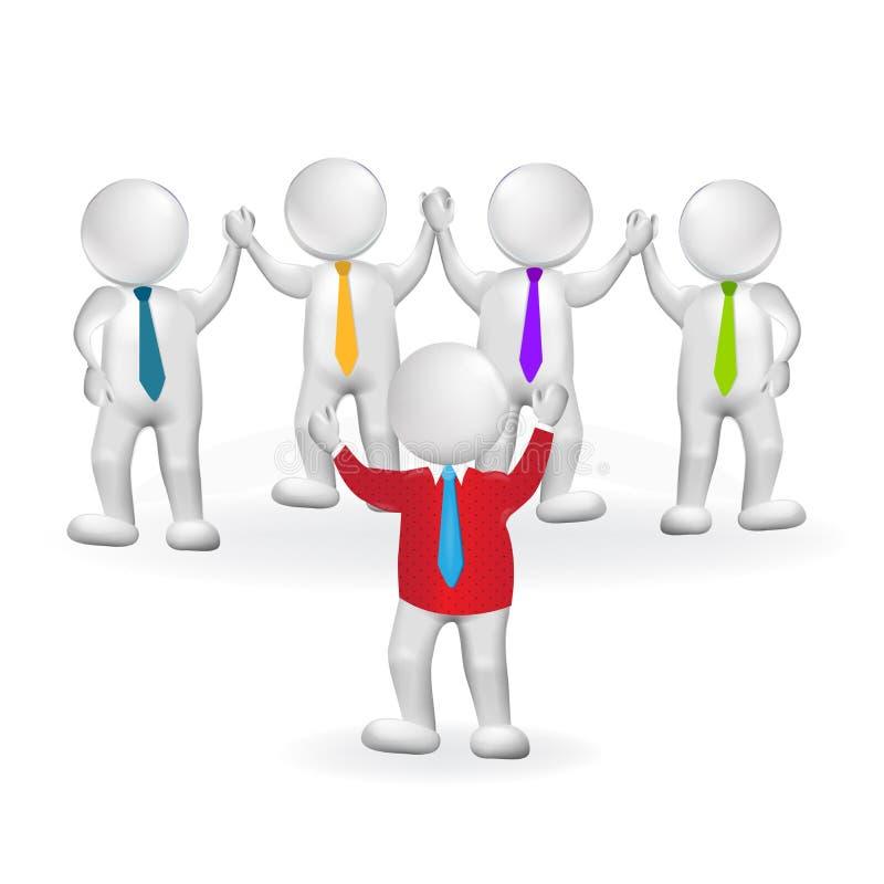 Führerteamwork-Logo der kleinen Person 3d lizenzfreie abbildung