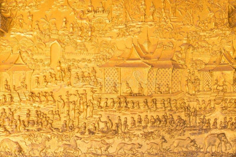 Führt Schuss von Laos-` s Kunst bei Wat Mai in Knall Luang Pra einzeln auf lizenzfreies stockfoto