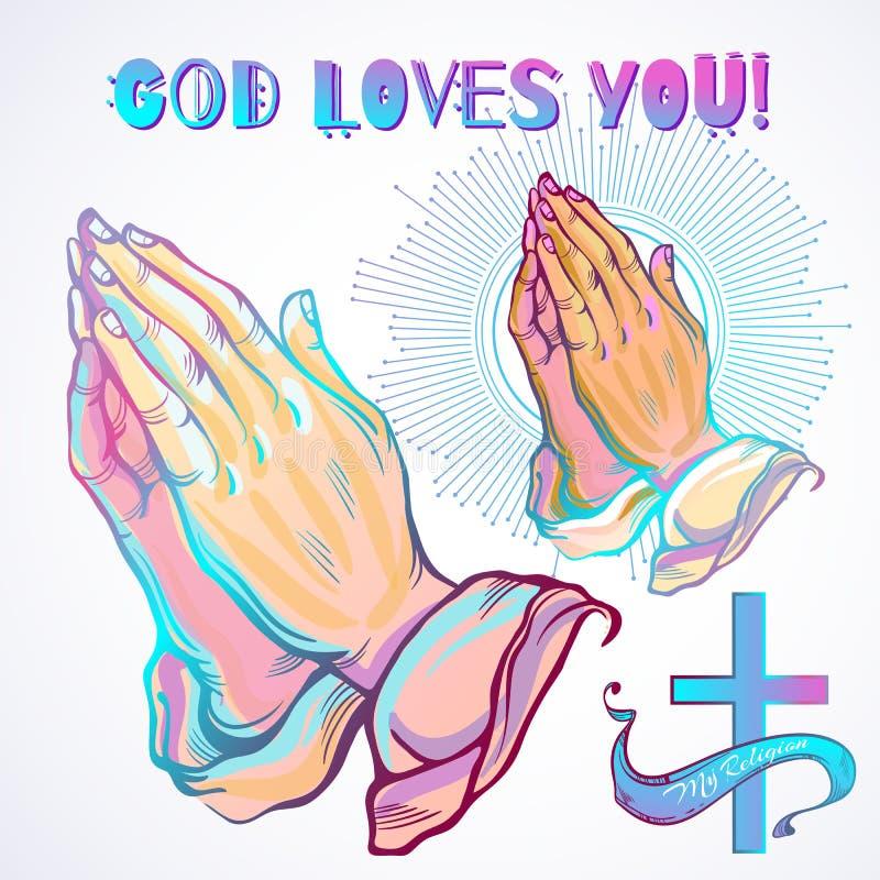 Führte schön die menschlichen Hände einzeln auf, die im Gebet gefaltet wurden Aufruf an den Gott Glaube und Hoffnung Religiöse Mo vektor abbildung