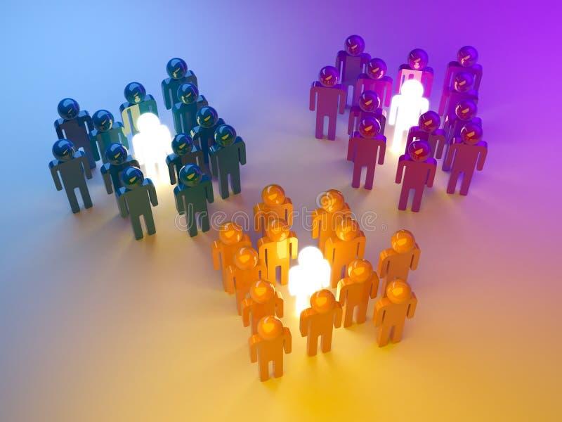 Führung. Management der Gruppen. Abbildung 3d stock abbildung