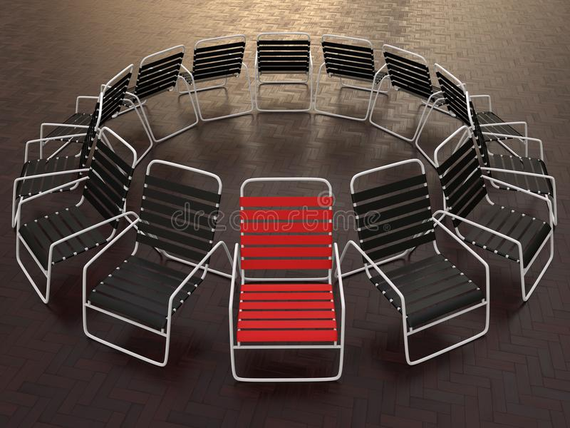 Führung - Stuhlkonzept im Freien vektor abbildung