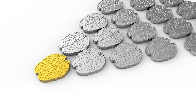 Führungkonzept mit Gehirn des Gold- 3d und Silber vektor abbildung