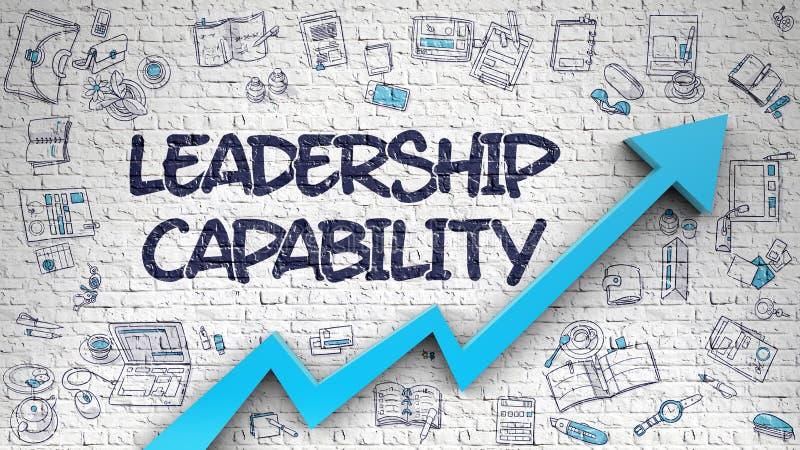 Führungs-Fähigkeit gezeichnet auf weißes Brickwall 3d vektor abbildung