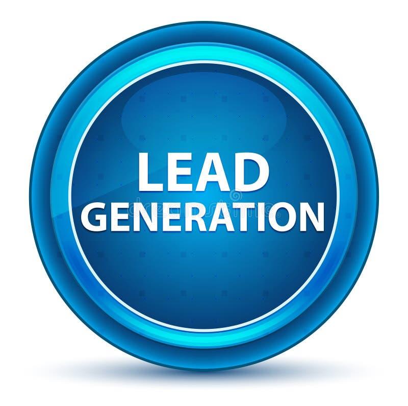 Führungs-Generations-Augapfel-blauer runder Knopf stock abbildung