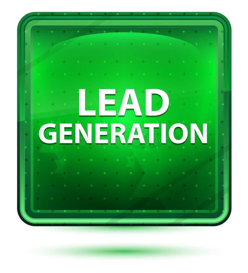 Führungs-Generations-hellgrüner quadratischer Neonknopf stock abbildung
