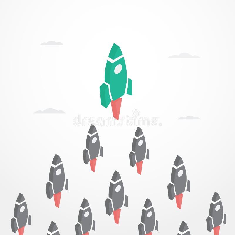 Führungs-Konzept mit Raketen in der isometrischen Art vektor abbildung